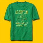 Led Zeppelin US Tour 77 Classic Rock Green T-Shirt