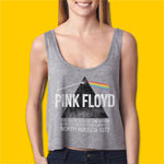 Pink Floyd The Dark Side of the Moon Classic Rock Girls Heather Grey Crop Tank