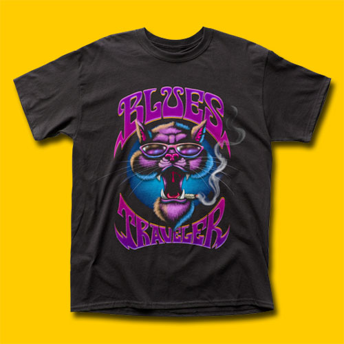 Blues Traveler Smokin' Cat Rock T-Shirt