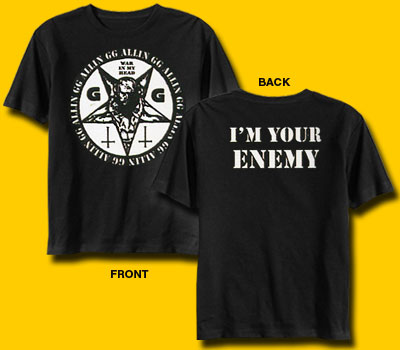 GG Allin I'm Your Enemy Punk Rock T-Shirt
