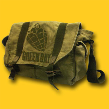 Green Day Heart Grenade Canvas Messenger Bag