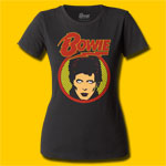 David Bowie Glam Shot Rock Girls Crew T-Shirt