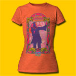 Janis Joplin 1967 Girls Heather Orange Crew T-Shirt