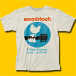 Woodstock 3 Days of Peace Music... and Love Vintage White T-Shirt