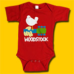 Woodstock Dove & Guitar Child's Red Onesie